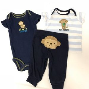 Carter's Monkey Set (3 Pieces) Newborn